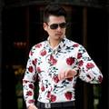 CE06 L-6XL 7XL Homens Camisas Manga Comprida 2017 Subiu Mens Floral Camisas Brancas Camisa Havaiana Camisa Dos Homens Vestido De Camisas Parágrafos Hombre