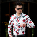 CE06 L-6XL 7XL Men Shirts Long Sleeve 2017 Rose Mens Floral Shirts White Hawaiian Shirt Men Shirt Dress Camisas Para Hombre