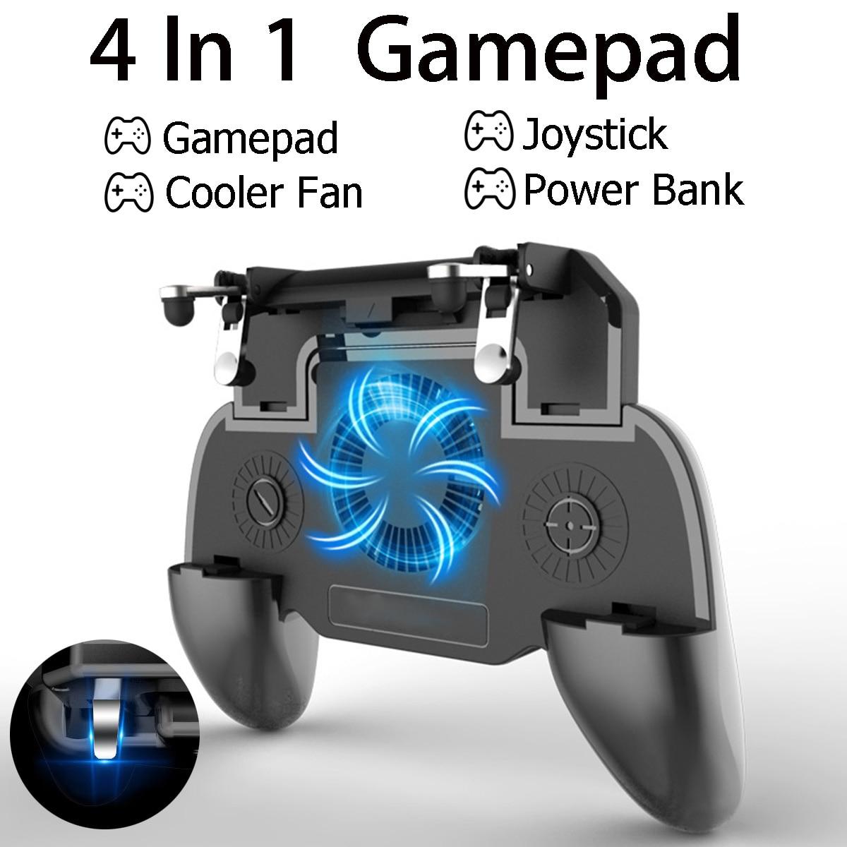 Móvel gamepad joystick para pubg cooler fan l1 r1 atirador controlador lidar com smartphone gatilho com 2000/4000 mah power bank