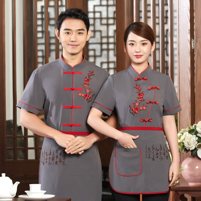Hotel Uniform Short Sleeved Summer Overalls Restaurant Tea House Hot Pot Cafe Clothes Chinese Traditional Restaurant Workwear