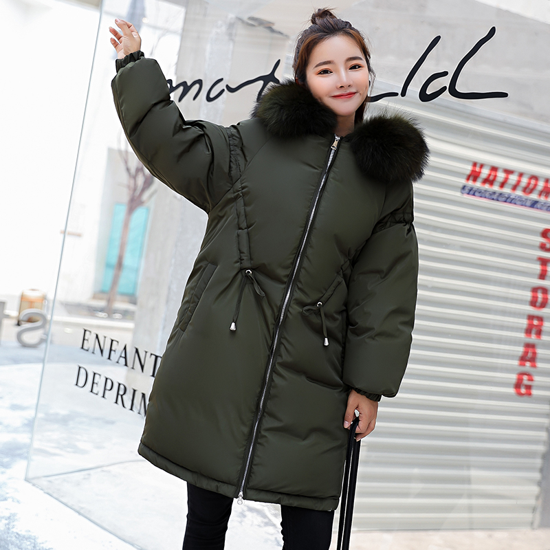 Épais Fourrure Beige Red Femmes Veste Dames dark Manteau 3xl noir Green marron Taille army Grand Coton 2018 Long Plus De Mode Rembourrage Parka Col La Chaud D'hiver Hiver O1wIz