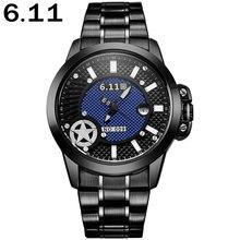 6.11 мужская мода спорт кварцевые часы случайные бренд солнечных батареях авто дата наручные часы стальной ленты 30 М Водонепроницаемый reloj hombre