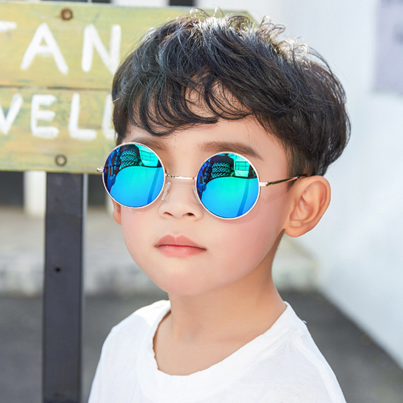 2019 new children's sunglasses boys and girls fashion retro UV400 quality sunglasses round metal frame acrylic lens sunglasses(China)