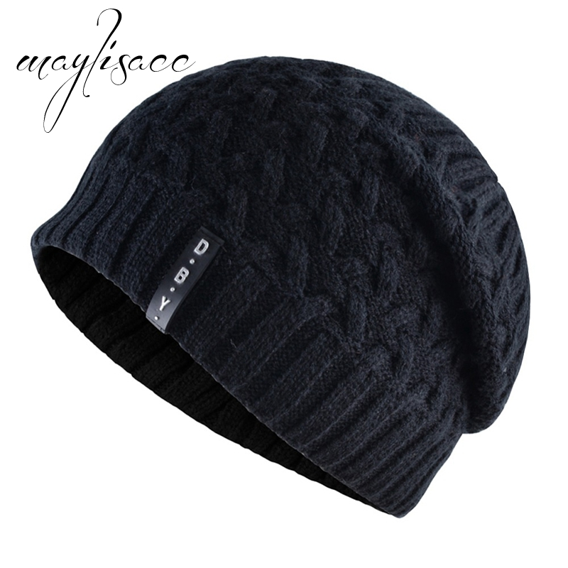 Maylisacc High Quality Solid Colors Men's Winter Warm Knitted Hat   Skullies     Beanies   Hat Hot Sell for Men Women Outdoor Sports Hat