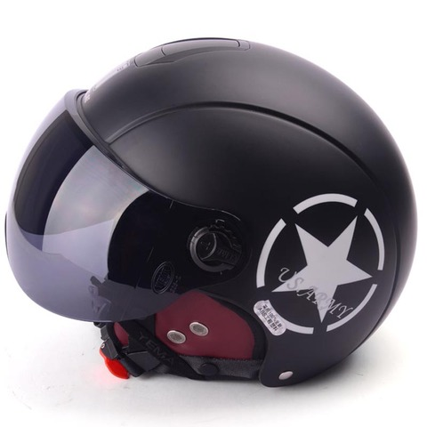 Motorcycle Helmet Half Open Face scooter halmet motocross vintage casque Adjustable Size Protection Gear Head Helmets 54cm-61cm Lahore
