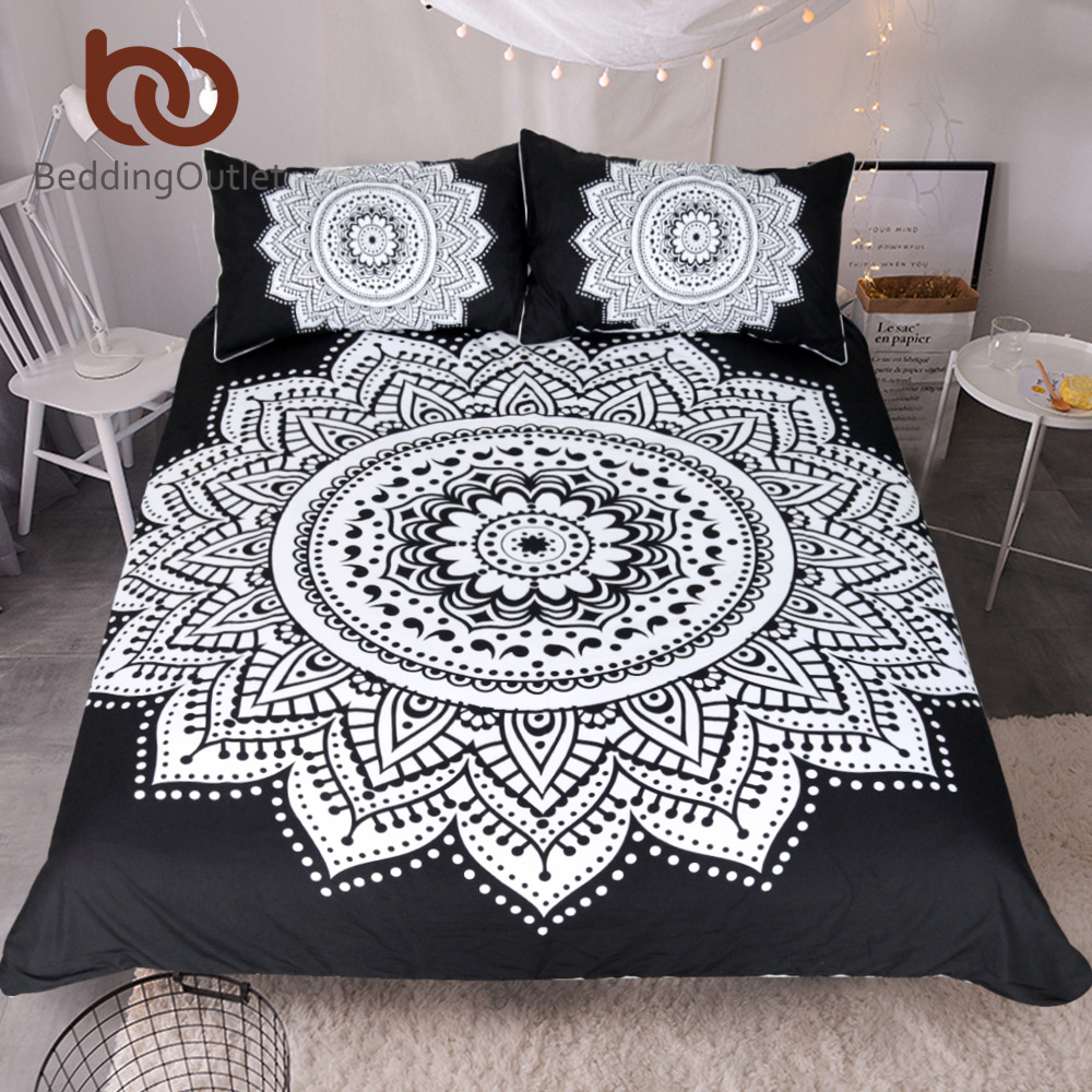 Black and white floral bed sheets - Beddingoutlet Mandala Print Bedding Set Queen Size Floral Pattern Duvet Cover Black And White Bohemian Bedclothes