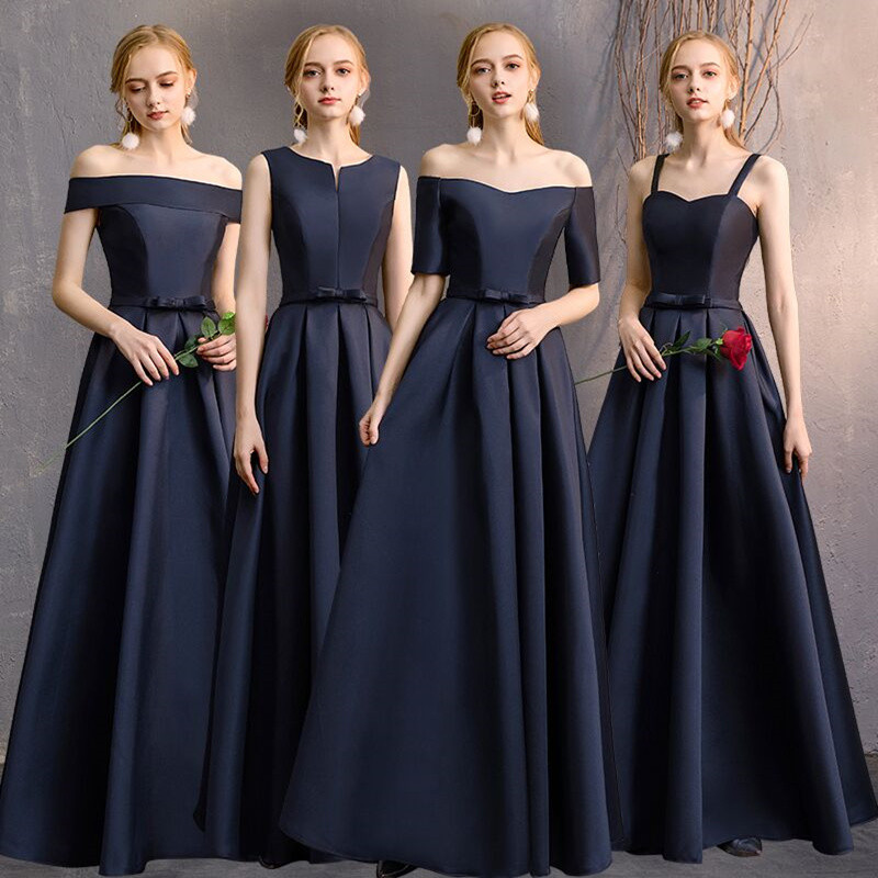 New Satin Bridesmaid Dresses For Girls Long Mismatched Navy Blue Simple Fashion Banquet Bride Prom Party Gown Rode De Soriee