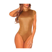 New Teddy Sexy Faux Leather Turtleneck Bodysuit One Piece Leotard Top Women Short Overall Catsuit American