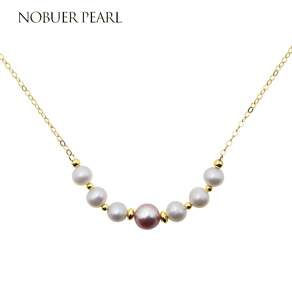 Nobuer 14KGF Trendy Handmade Pearl Chains Necklaces For Women 2 Colors Freshwater Pearl Fine Jewelry Choker Necklace To A Party [nymph ]natural pearl necklace pearl jewelry white freshwater choker necklace trendy for wedding party fine jewelry x120