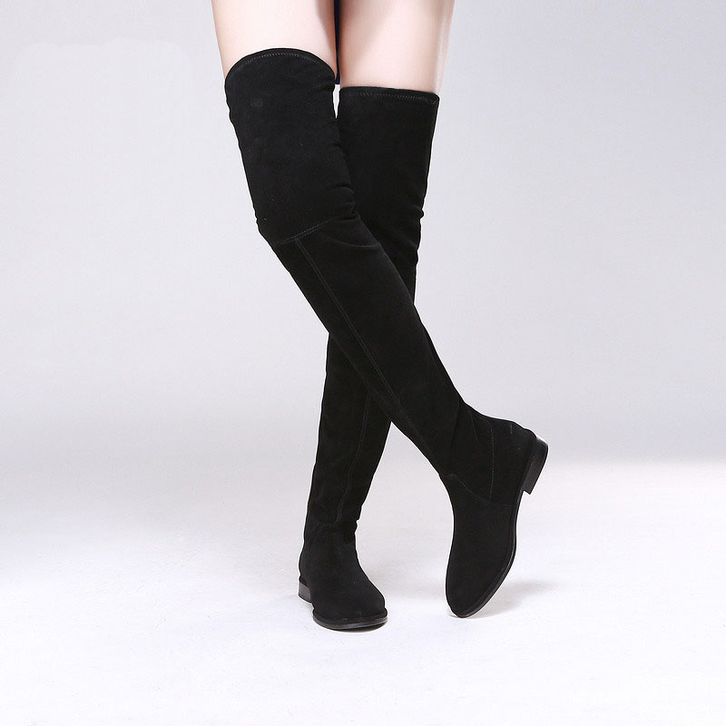 Women newest Spring Autumn fashion boots over the knee boots chunky heels round toe thigh high boots frosted boots black newest women half knee high motorcycle boots vintage chunky heels spring autumn outdoor platform shoes woman female boots