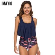 d556f830f12 Imayio 2019 New Bikinis Women Swimsuit High Waist Flamingo Bathing Suit  Plus Size Swimwear Vintage Beach