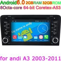 CANBUS Ile Audi A3 2002-2011 için Android 6.0 Octa Çekirdek Araba PC DVD GPS Wifi 4G GPS Navigasyon Bluetooth telefon görüşmesi Harita DVR PC HD