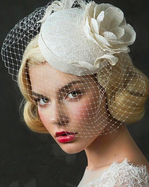Hot Sale Ivory Bridal Accessories For Brides Hand Made Wedding Hats 2016  New Real Photo Wedding Head Wear Faire Part Mariage 3dc269a0b24