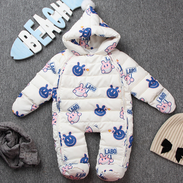 2017 baby winter clothes snowsuit feather down one piece jumpsuit newborn romper thick warm clothes duck down outwear hooded