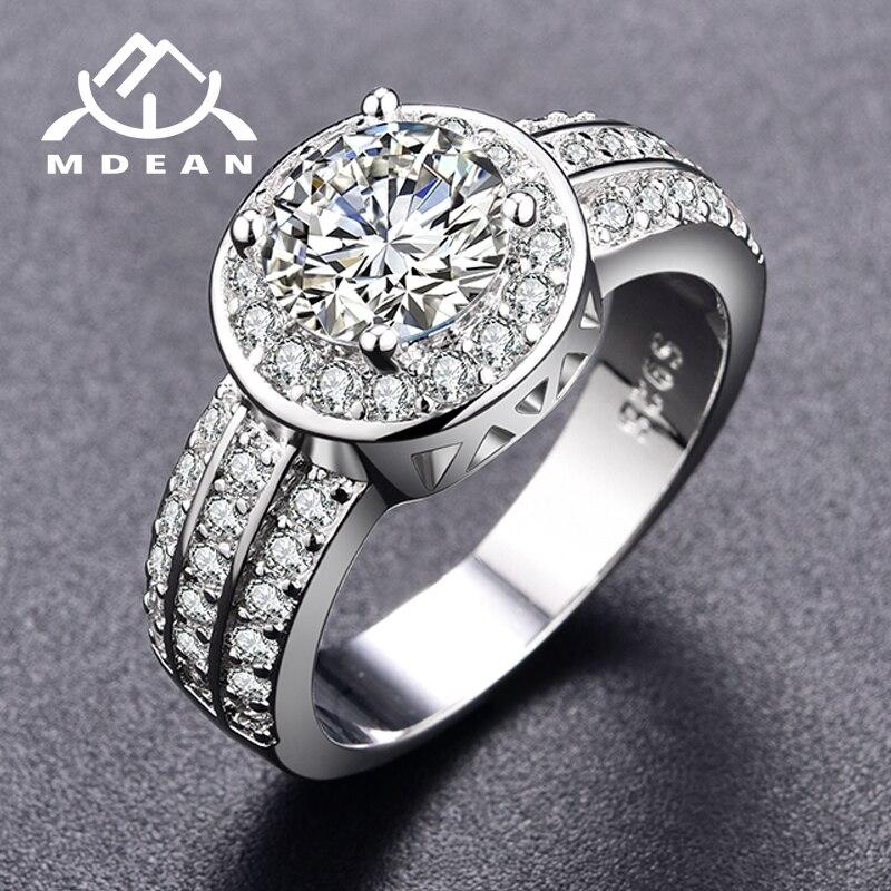 MDEAN белый камень Rng круглый Белое золото Цвет кольца для Для женщин обручальное ювелирных изделий Новые Модные аксессуары Bague H111