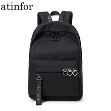 Waterproof Women Backpack Black and Pink Travel Bookbag Lady Back Bag KeyChain Knapsack College School Bag for Girls(China)