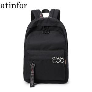 Image 1 - Waterproof Women Backpack Black and Pink Travel Bookbag Lady Back Bag KeyChain Knapsack College School Bag for Girls