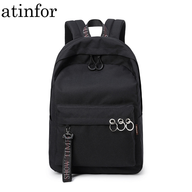 Waterproof Women Backpack Black and Pink Travel Bookbag Lady Back Bag KeyChain Knapsack College School Bag for Girls