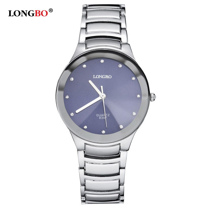 Luxury Designer LONGBO Quartz Watch Women Stainless Steel Band Fashion Blue Dial Female Clock montre femme relojes de marca 8347