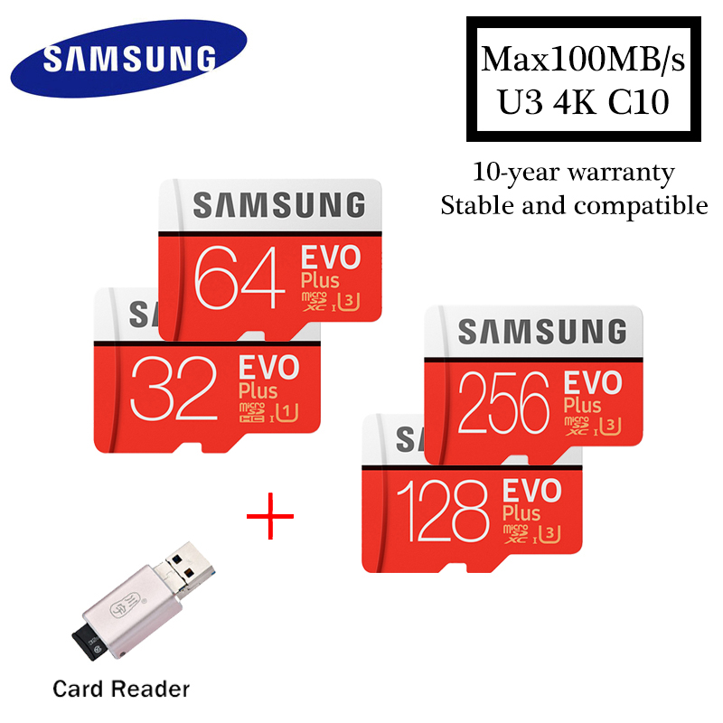 Samsung EVO PLUS Micro sd card 32GB 64GB 128GB 256GB Memory Card UHS-I 100M / s Class10 U3 TF card SDHC SDXC With card reader samsung micro sd card memory card evo plus 256gb 128gb 64gb 32gb 16g class10 tf card c10 sim card 100mb s sdhc sdxc uhs i128gb