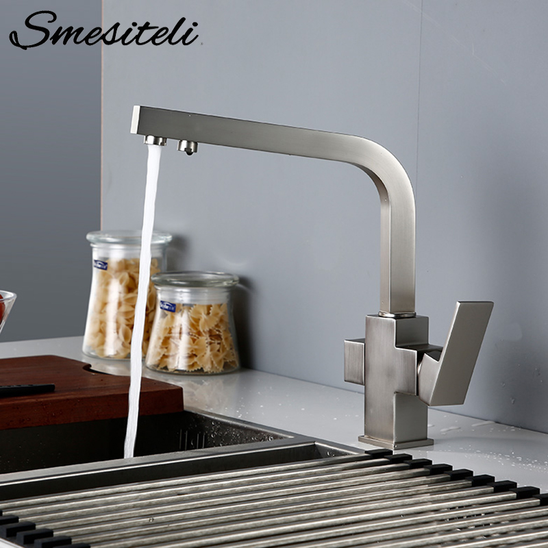 Smesiteli Kitchen Faucets Brushed Stainless Steel Solid Brass 3 Way Water Tap Filter 360 Degree Rotation