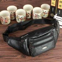 GOLD CORAL Genuine Leather Men Waist Pack Fanny Pack Bum Belt bags for man 2018 Mobile Phone Bags Travel waist bag bolsa mujer