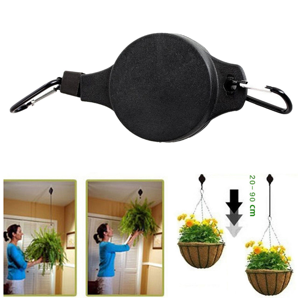 Retractable Pulley Hanging Basket Pull Down Hanger To 20cm 90cm Garden  Plastic Baskets Pot Hanger Load Max Weight 15kg