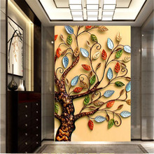 beibehang 3D photo wallpaper gold rich cash cow walkway oil painting decorative backdrop 3D large wall mural Modern painting