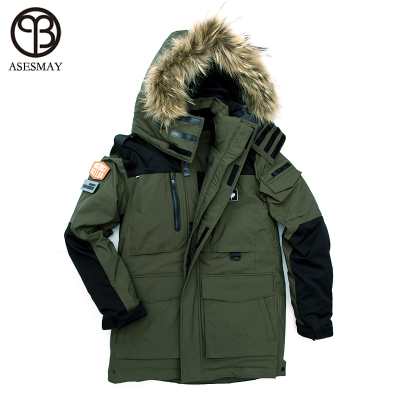 Asesmay 2017 New Arriving Men Down Jacket Thick Casual Duck Down Jacket Men Parka Winter coat Natural Raccoon Snow Down jackets