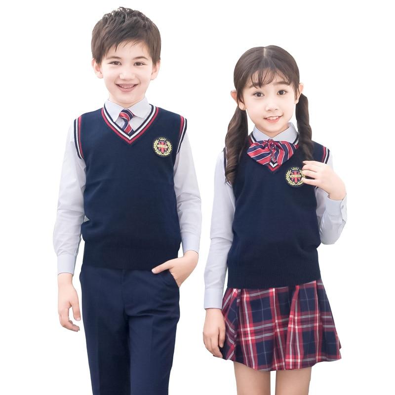 Kids Formal British Style Performing Suit Girls Boys School Uniforms Shirt + Sweater + Pant Tutu Skirt + BowTie Set Costume F69