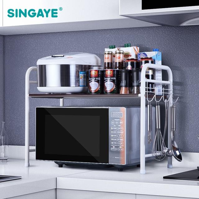 Sine Diy Adjule Microwave Oven Shelf Detachable Rack Kitchen Organizer Tableware Shelves Home Storage Cocina Holder