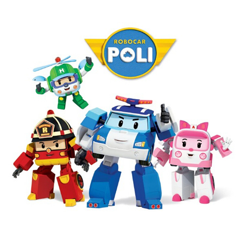 4pcs/Set Robocar Poli Robot Car Transformation Toys Action Anime Figure Kids Toys Gifts 4pcs set robocar poli korea kids toys robot transformation anime action figure toys for children