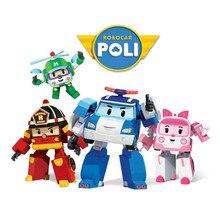 4pcs/Set Robocar Poli Robot Car Transformation Toys Action Anime Figure Kids Toys Gifts