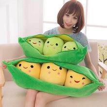 Cute Cartoon Peas Cushion Soft Plush Peas Pod Chair Seat Cushions Lumbar  Pillow Doll Gifts D