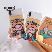 Kuutti Squishy Cute Girls Cartoon Korean Makeup Mirror TPU Phone Case for iPhone 6 6s 7 8 Plus X XR XS Max Covers iphone