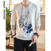 Sinicism Store Mens Cotton Linen Shirt Men Half Sleeve Chinese Printing Print Clothes Male Big Size New Shirts