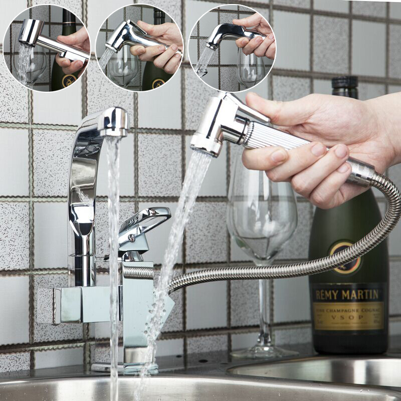 OUBONI Multifunctional Pull Out Spray Kitchen Sink Faucet Swivel torneira Hot Cold Double Water Way Kitchen