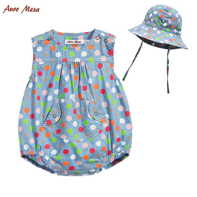 Colorful Polka Dot baby Girl Bodysuit Sleeveless Cotton Denim Jumper With Sun Hat Infant Sunsuit