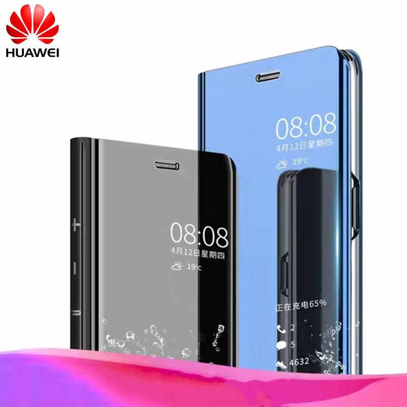 P Smart Clear View Mirror Case For Huawei P8 P9 P10 P20 Lite 2017 Plus For Mate 10 20 lite pro honor 10 9 8 nova 3 3i flip Case.