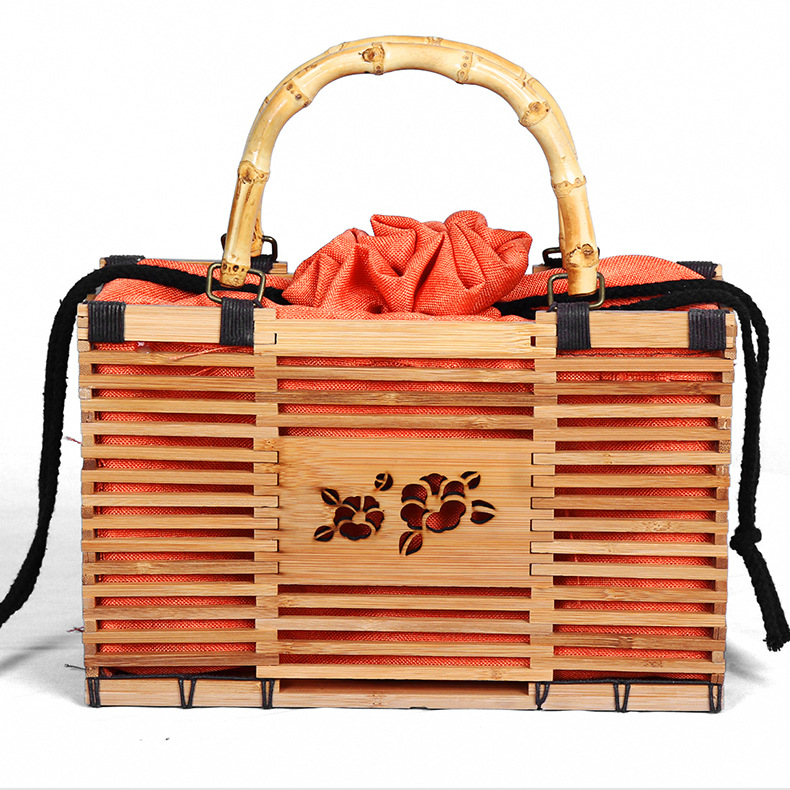IMYOK Women Bamboo Handmade Handbags Ladies Beach Bag Fashion Women's Bamboo Handbag Summer Female Purse Woven Beach Bag цены