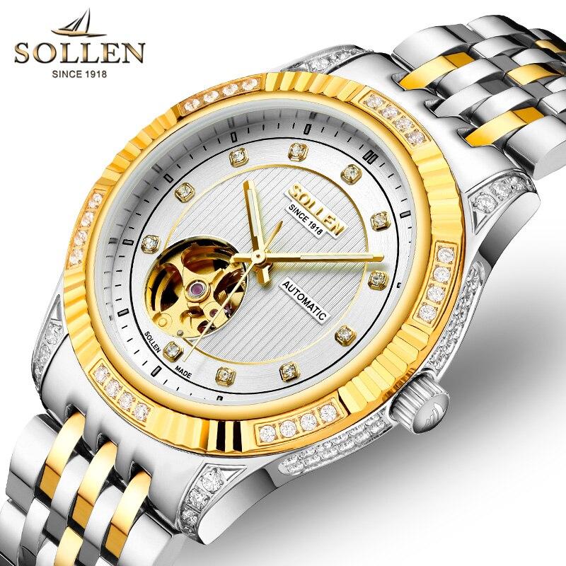 2016 montres Tourbillon marque de luxe hommes montres mécaniques automatiques SOLLEN Montre d'affaires de mode saphir relogio masculino