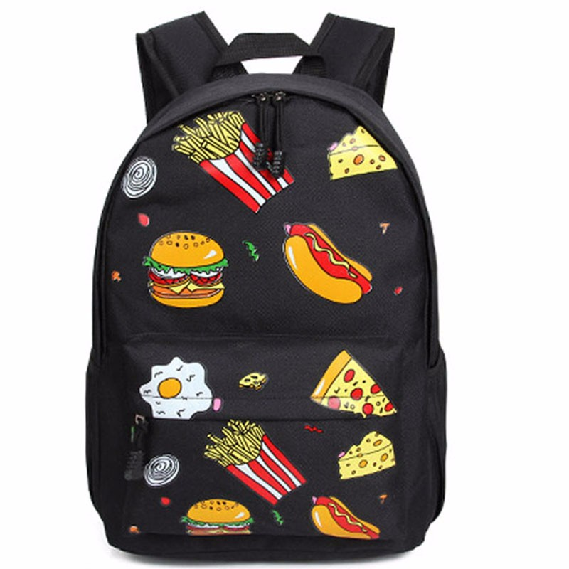Women & Men Graffiti Backpack Printing Cartoon Food Hamburg Chips Rucksack Couple Oxford School Bag Travel Packs Mochila