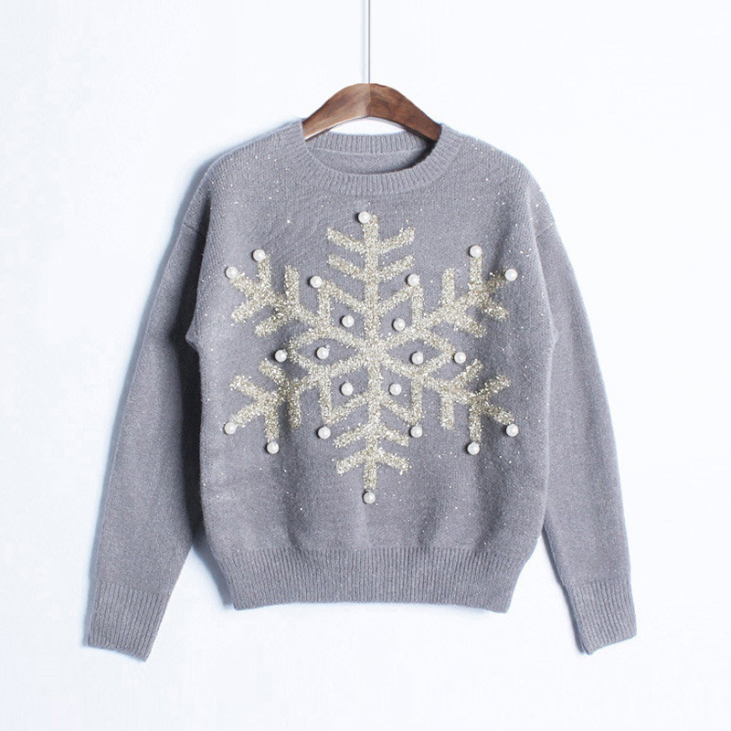 Sweater Women 2017 Fashion Winter Christmas Gift Sweater Women Pullover Knitted Slim Sweaters Snowflakes Paillette Pullovers