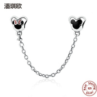 Classic Style Authentic 925 Sterling Silver Mickey Minnie Safety Chain Fit European Pandora Bracelet Charm DIY