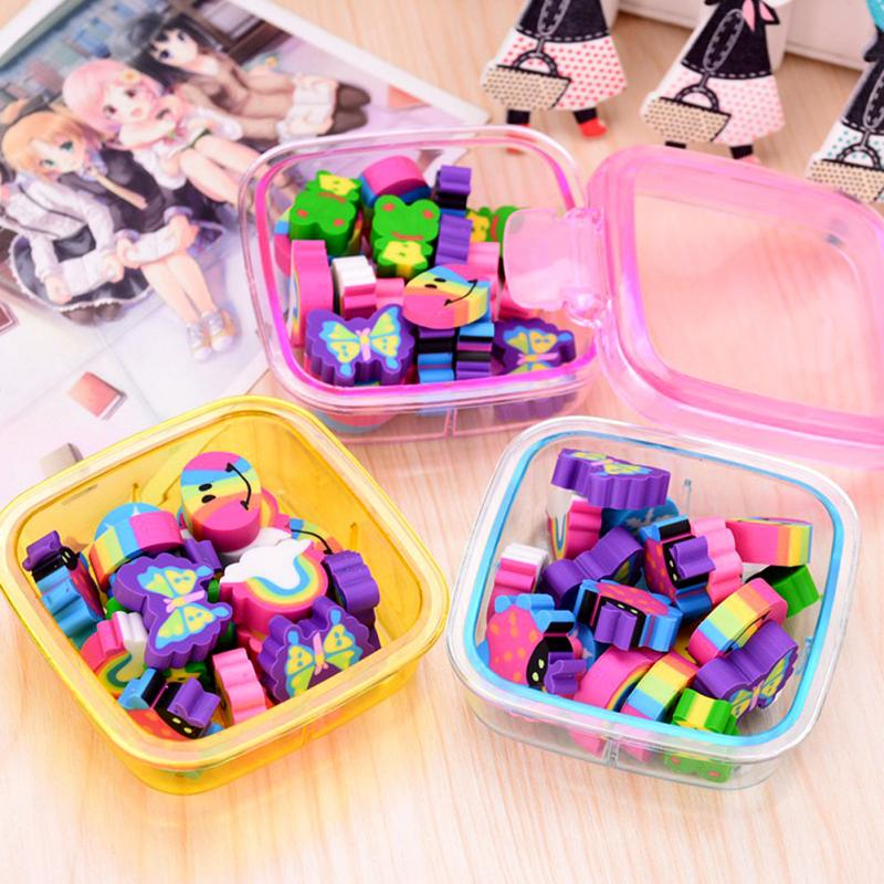 Colorful Cute Cartoon Rubber Eraser Kid Gift Children Presents Various Shape Erasers School Supplies Stationery Random Color