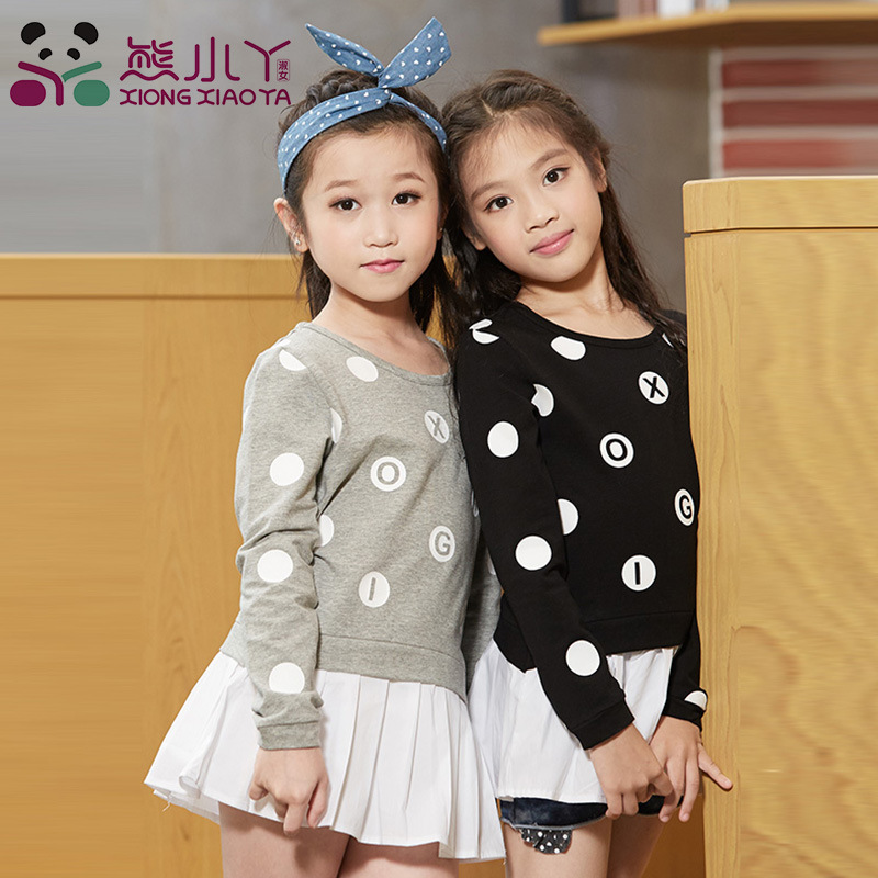 Baby Girls Dress Long Sleeve Spring Autumn Dresses Kids Casual T shirt Cute Children Black Gray Dot Clothing GH054 brand new spring autumn girls clothing t shirt long sleeves red black children cute long t shirt school shirt top tees gh048