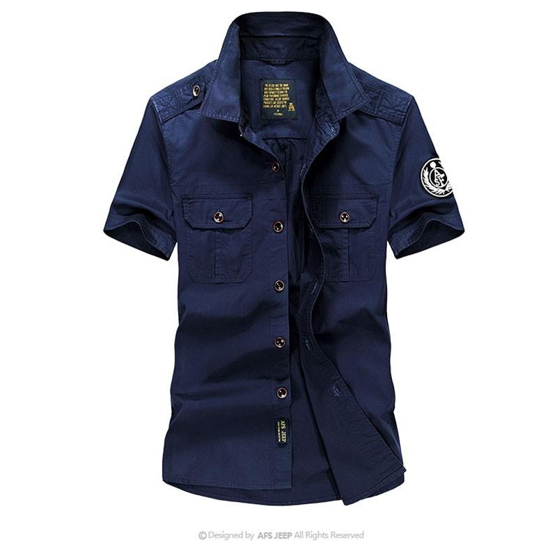 High-Grade Men Brand Clothing 2016 Hot Summer Dress Short Sleeve Shirts Straight Casual Fashion Shirts M~4XL AFS JEEP Pockets (13)