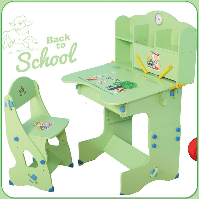 Wood Children Furniture Sets Children Furniture Adjustable Children Study  Desk U0026chair Sets Pink Green Whole Sale