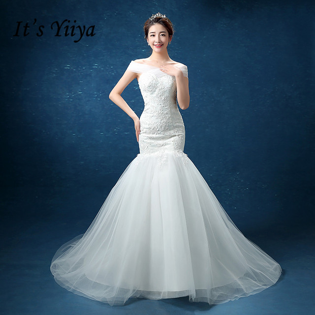 It\'s Yiiya Plus size Tulle Boat Neck Lace Mermaid Wedding Dresses ...