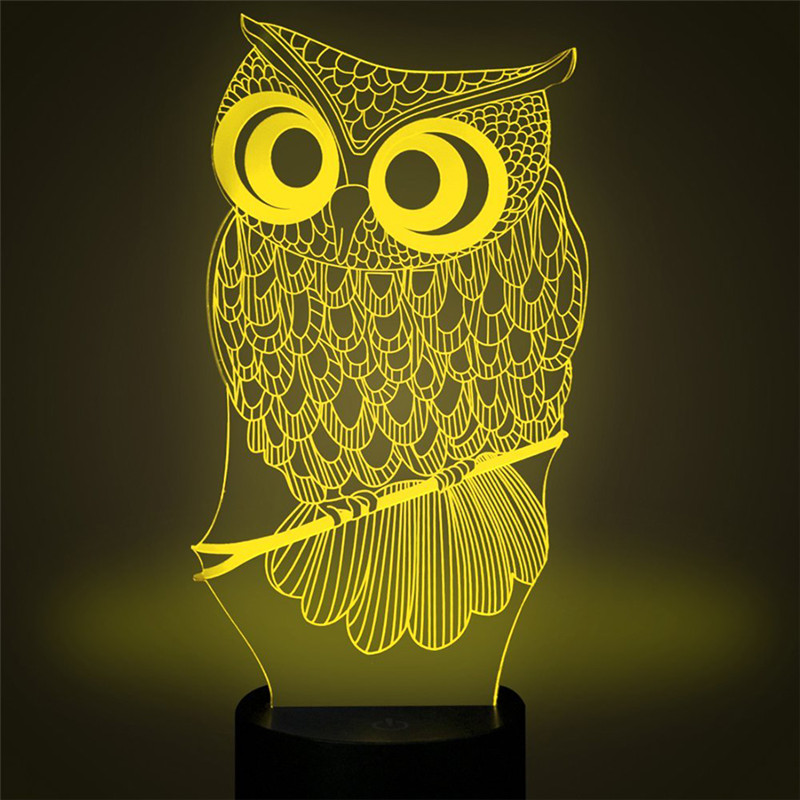 3D Owl LED Desk Table Light Lamp Night Light 7 Color Change Touch Switch Art Sculpture Lights Home Decoration Holiday Light in LED Night Lights from Lights Lighting